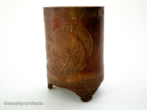 Vintage Chinese Carved Bamboo Bitong Brush Pot - Floral Scene