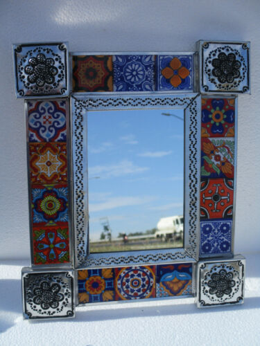 """PUNCHED TIN MIRROR with mixed talavera tile mexican folk art 13"""" X 11"""""""