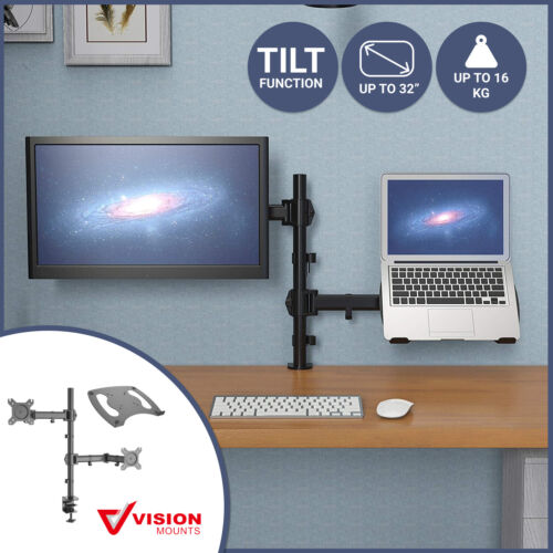 """Dual Stand Bracket Monitor LCD + Tray Holder Laptop Adapter Desk Display Arm 32"""""""