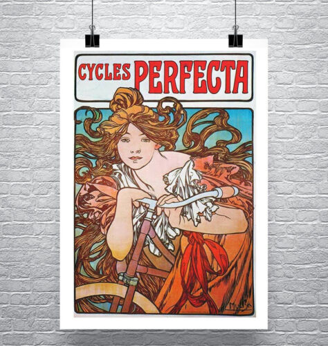 Cycles Perfecta 1897 Alphonse Mucha Poster Fine Art Print on Canvas or Paper