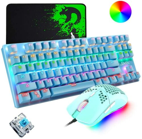 Blue Wired Mechanical Gaming Keyboard Mouse and Mice Pad RGB Backlit For PC PS4