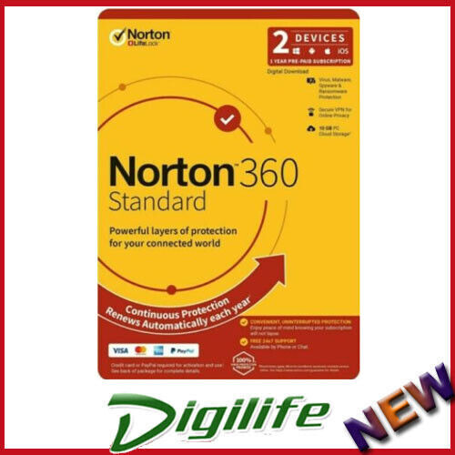 Norton 360 Standard OEM, 1 User, 2 Devices, 12 Months, PC, MAC, Android, iOS,