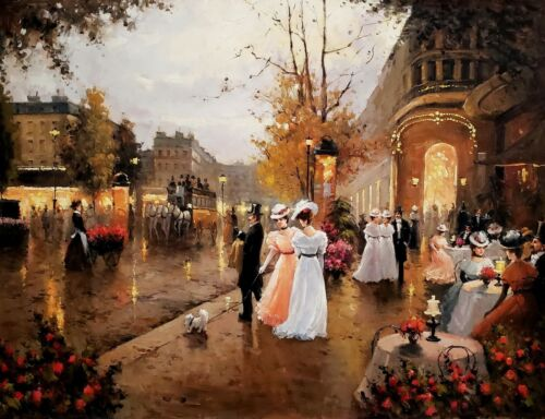 Classic Street Scene #6, 36x48,Oil painting Reproduction of Old master