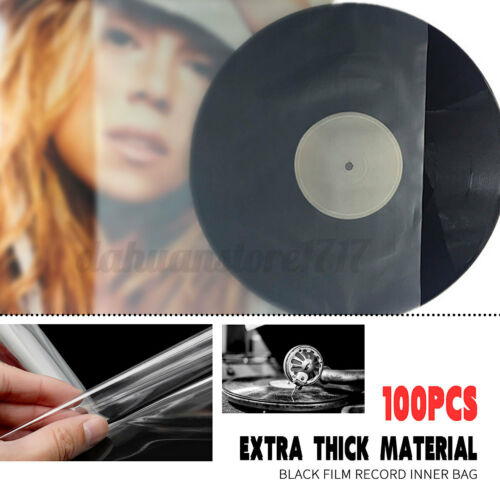 100Pcs Sleeves Plastic Clear Record Outer Cover for 12'' LP LD Vinyl