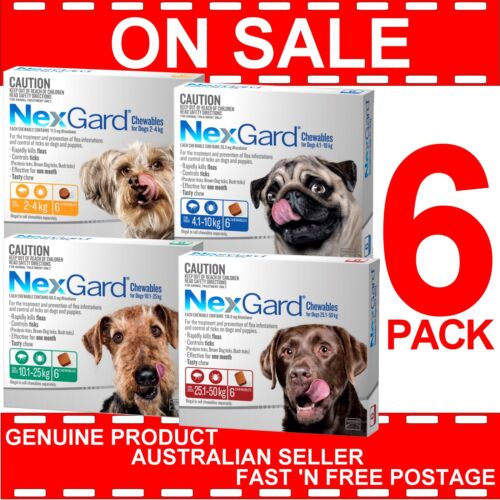 Nexgard for Dogs 6 Doses Monthly Flea and Tick Prevention Nexguard All sizes