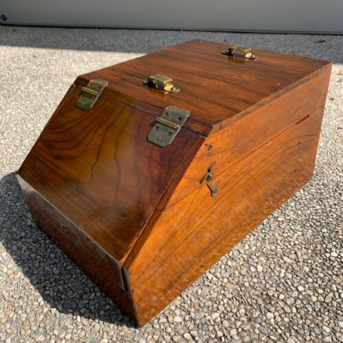 Antique Victorian Mahogany fireside or desk writing box with brass fittings