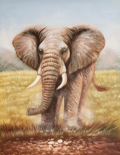 Elephant, #EL0L01-4, 12x16 100% Hand painted Oil Painting on Canvas,