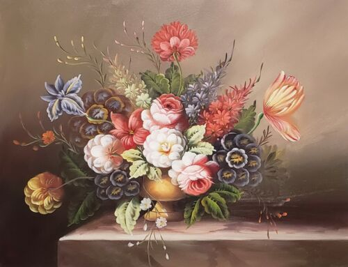 Classic Floral, #CF0L01-2, 12x16 100% Hand painted Oil Painting on Canvas,