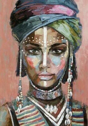 Tribal Woman Stretched Canvas Print Painting Wall Art Home Decor 70x100cm