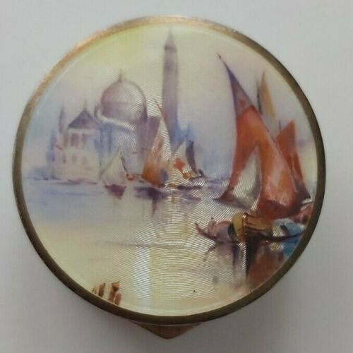 Antique Sterling Silver Gilt and Guilloche Enamel Pill Box -1927 image of Venice