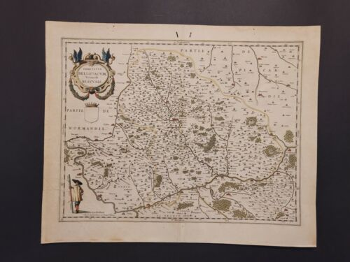 "1635 Willem Blaeu map of northern France, entitled ""Comitatvs Bellovacvm,"" A-008"