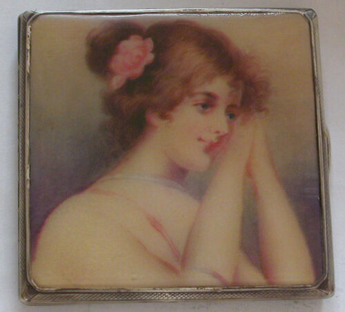 A VINTAGE STERLING SILVER CIGARETTE CASE PRODUCED BY W&H 1946-PORTRAIT OF A LADY