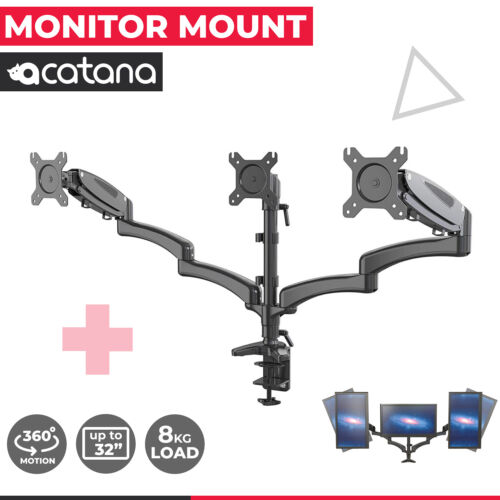 """Acatana Triple Monitor Stand 3 ARM Mount Desk Screen Holder 13 - 27"""" up to 8kg"""