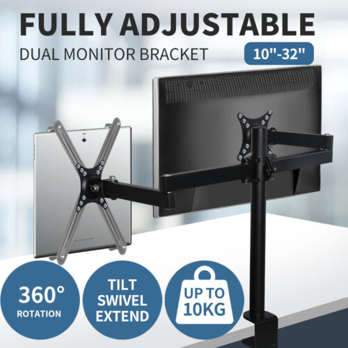 Dual LED Monitor Bracket 2 Arm Display Stand LCD Screen TV Desk Mount Holder