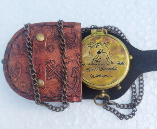 Engraved Compass, (Life is Beautiful with You)   Gift for Husband for Gift