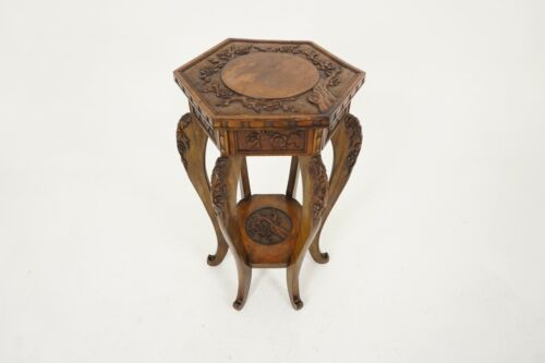 Antique Japanese Plant Stand, Carved Laquered Lamp Table, Meiji Period, B2179