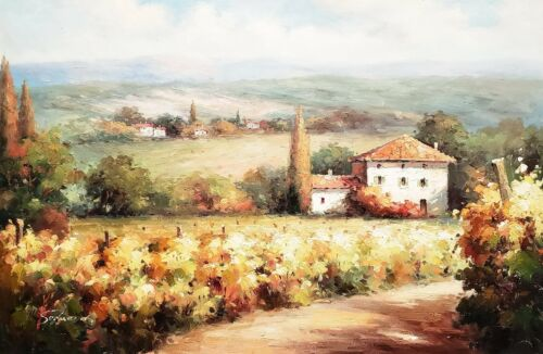 Tuscan Vineyard  #TV1A06-2, 24x36, 100% Hand Painted Oil Painting on Canvas