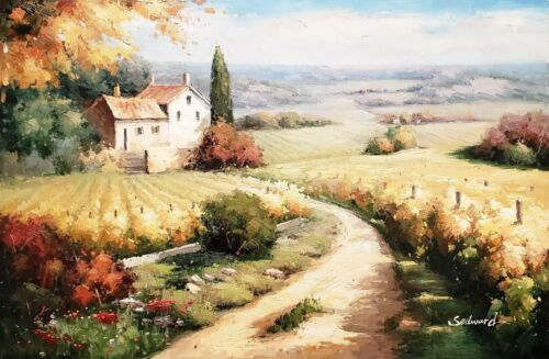 Tuscan Vineyard  #TV1A06-3, 24x36, 100% Hand Painted Oil Painting on Canvas