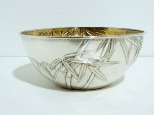 Japanese Sterling Silver Bowl by Samurai Shokai * Bamboo with Gold Wash * c 1890