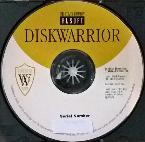 Alsoft Diskwarrior v. 3.0 Software Mac CD utility.