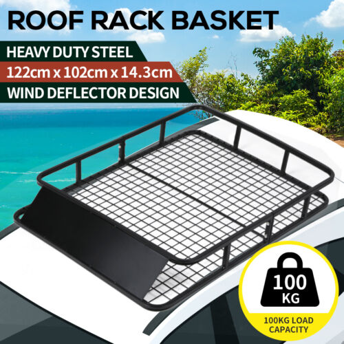 Universal Roof Rack Basket Heavy duty Steel Luggage Carrier Cage Vehicle Cargo