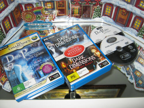 """PC CD-ROM GAMES """"SNOW QUEEN & DARK DIMENSIONS-CITY OF FOG / WAX BEAUTY """"  (NEW)"""