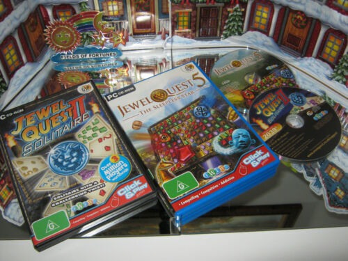 """PC CD-ROM GAMES """"JEWEL QUEST 2 SOLITAIRE & JEWEL QUEST 5 """" (NEW)"""