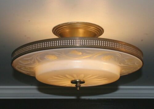 "Antique frosted glass 16"" flush mount art deco light fixture ceiling chandelier"