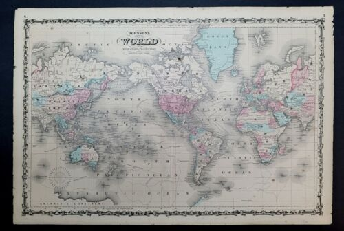 1864 Johnson's map of  the World on Mercator's Projection, B-009