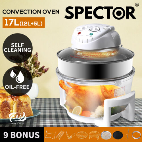 17L Air Fryer Turbo Convection Oven Self-cleaning Kitchen Cooker Low Fat White