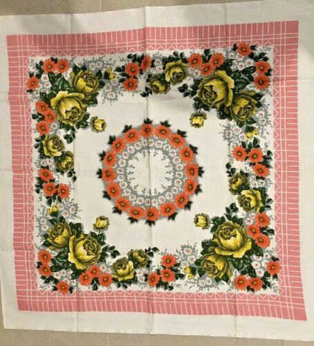 VINTAGE - Table Cloth - floral with pinks and white - good condition.
