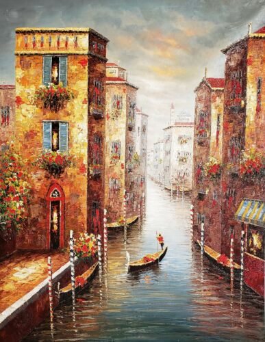Venice Gondola,  48x36, 100% Hand painted Oil Painting on Canvas