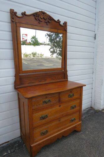 Victorian Early 1900s Oak Carved Large Dresser with Mirror by A H Heilman 1833