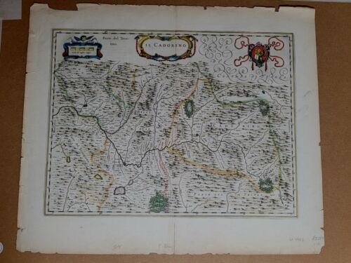 "Willem Blaeu map entitled, ""Ilcadorino,"" ,"" Hand Colored #0009"