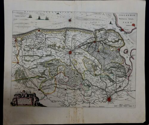 "1643 Willem and Joan Blaeu map of north west Flanders, entitled ""Flandriae #0012"