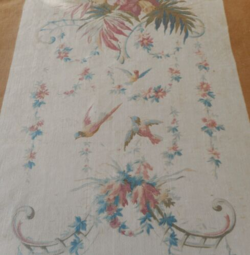 Antique French Floral Bird Cotton Fabric ~ Blue  Rose Brown ~ Pillement Pattern