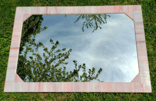 Vintage Virginia Mirror Co Pink Swirl Slag Stained Glass Mirror 30 x 20 Inches