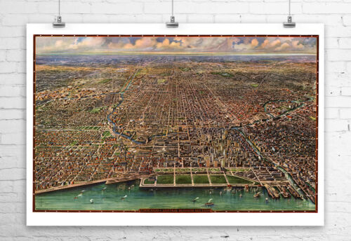 Chicago Illinois 1916 Birds Eye City Map Fine Art Giclee Print Canvas or Paper