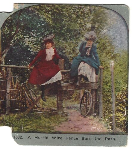 Horrid Wire Fence Bars the Path (Women on Bicycle), Circa 1900 Stereoview