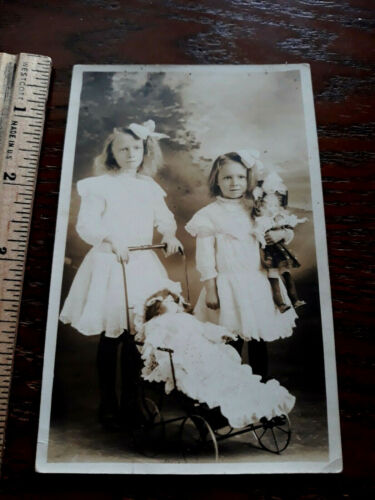 Children antique toy dolls baby buggy ONE OF A KIND real photo POSTCARD RPPC
