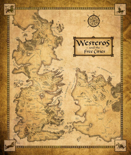 """Game of Thrones ( 11"""" x 13-1/4"""" ) MAP  Collector's Poster Print - B2G1F"""