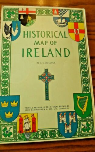 """1969 Fold Out Color Map """"Historical Map of Ireland"""" 28"""" x 40"""" By L G Bullock"""