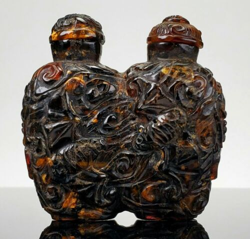 ANTIQUE CHINESE CARVED AMBER DOUBLE SNUFF BOTTLE