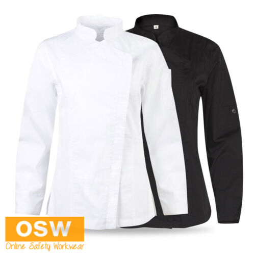 Ladies/Womens Breathable LONG Roll-Up Sleeve Black/White Stretch Chef Jacket