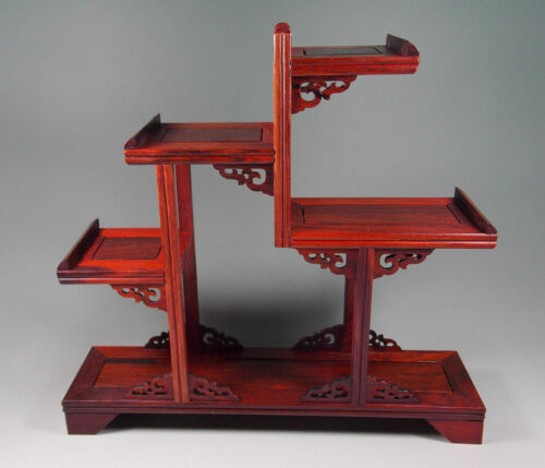 Rosewood handwork carved stand shelf For netsuke, snuff bottle small statue