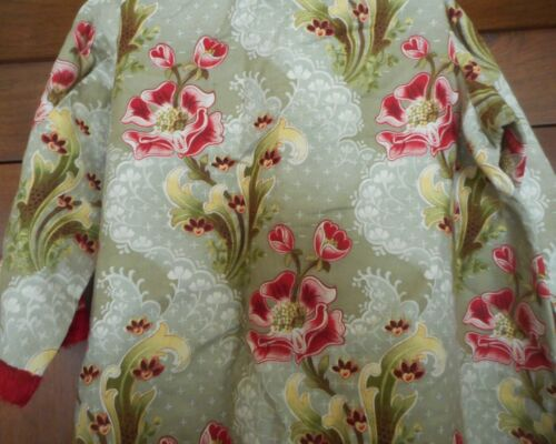 Antique Art Nouveau French Floral Fabric #1 ~  Robe Caftan Costume ?  Red Green