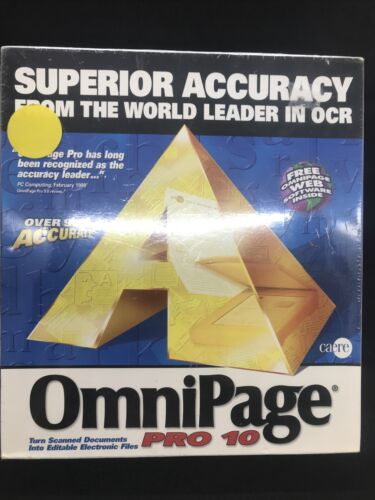 OMNIPAGE PRO 10 Works With Microsoft 95,98,2000  Scanner Software Vintage