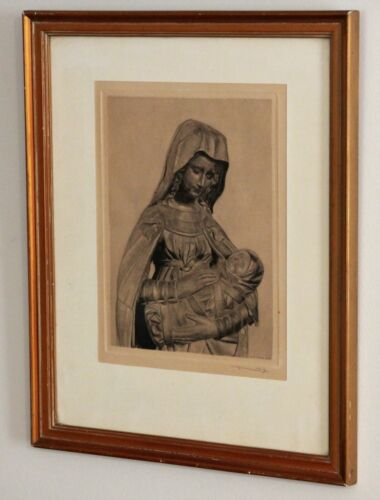 French Vintage Framed Religious Virgin Mary & Child Lithograph/Print