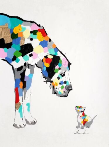 Dog & Cat,  24x36 Hand painted on Giclee Canvas
