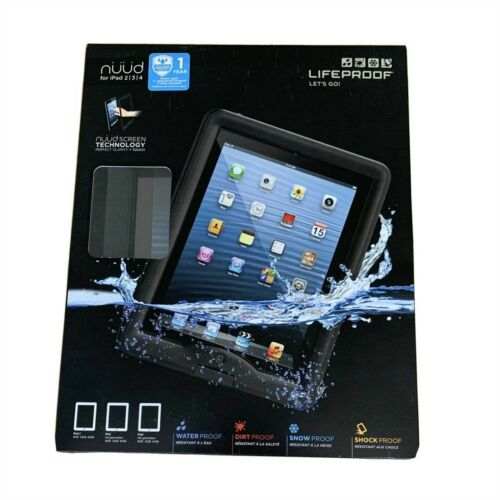 LIFEPROOF NUUD CASE FOR IPAD 4 3 2 WATERPROOF COVER+STAND BLK CLR *NEW1* 1112-01
